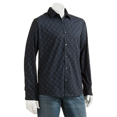 Van Heusen Studio Slim-Fit Dot Striped Casual Button-Down Shirt