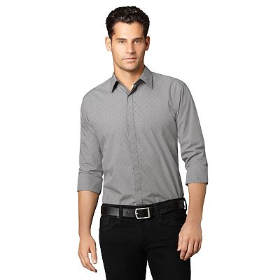 Van Heusen Fitted Dot Casual Button-Front Shirt
