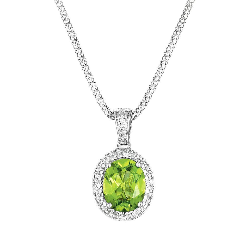 Sterling Silver Peridot & Diamond Accent Oval Pendant