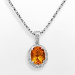 Sterling Silver Citrine and Diamond Accent Oval Frame Pendant