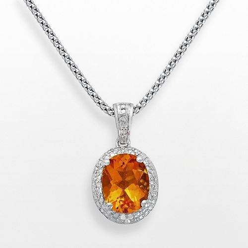 Sterling Silver Citrine & Diamond Accent Oval Frame Pendant