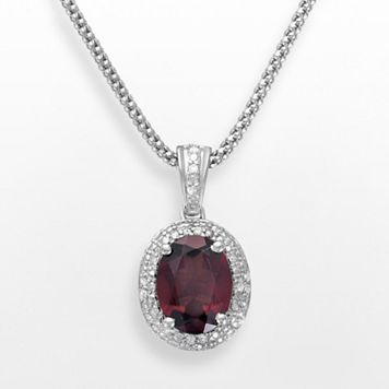 Sterling Silver Garnet & Diamond Accent Oval Frame Pendant