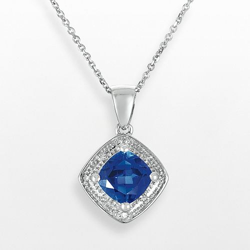 Sterling Silver Lab-Created Sapphire & Diamond Accent Pendant