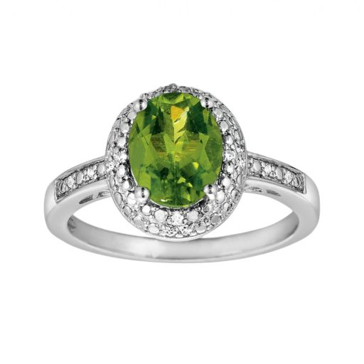 Sterling Silver Peridot and Diamond Accent Oval Ring