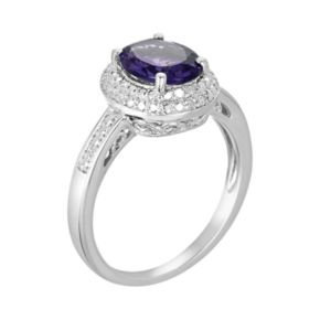 Sterling Silver Amethyst and Diamond Accent Oval Ring