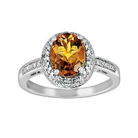 Sterling Silver Citrine & Diamond Accent Oval Ring