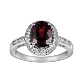 Sterling Silver Garnet and Diamond Accent Oval Ring