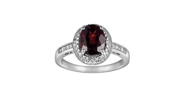 Diamond Rings For Sale Kohls: Sterling Silver Garnet And Diamond Accent Oval Ring