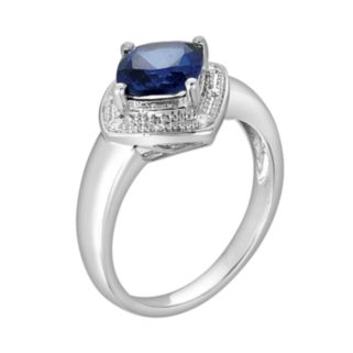Sterling Silver Lab-Created Sapphire and Diamond Accent Ring
