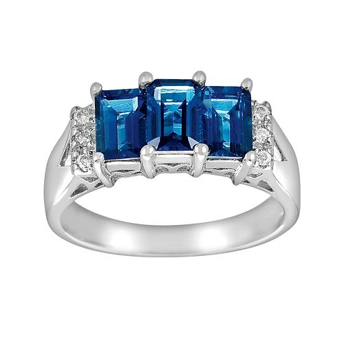 Sterling Silver London Blue Topaz & Diamond Accent 3-Stone Ring
