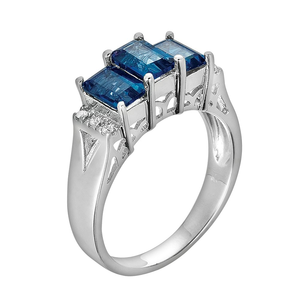 Sterling Silver London Blue Topaz and Diamond Accent 3-Stone Ring
