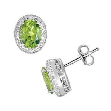 Sterling Silver Peridot & Diamond Accent Oval Stud Earrings
