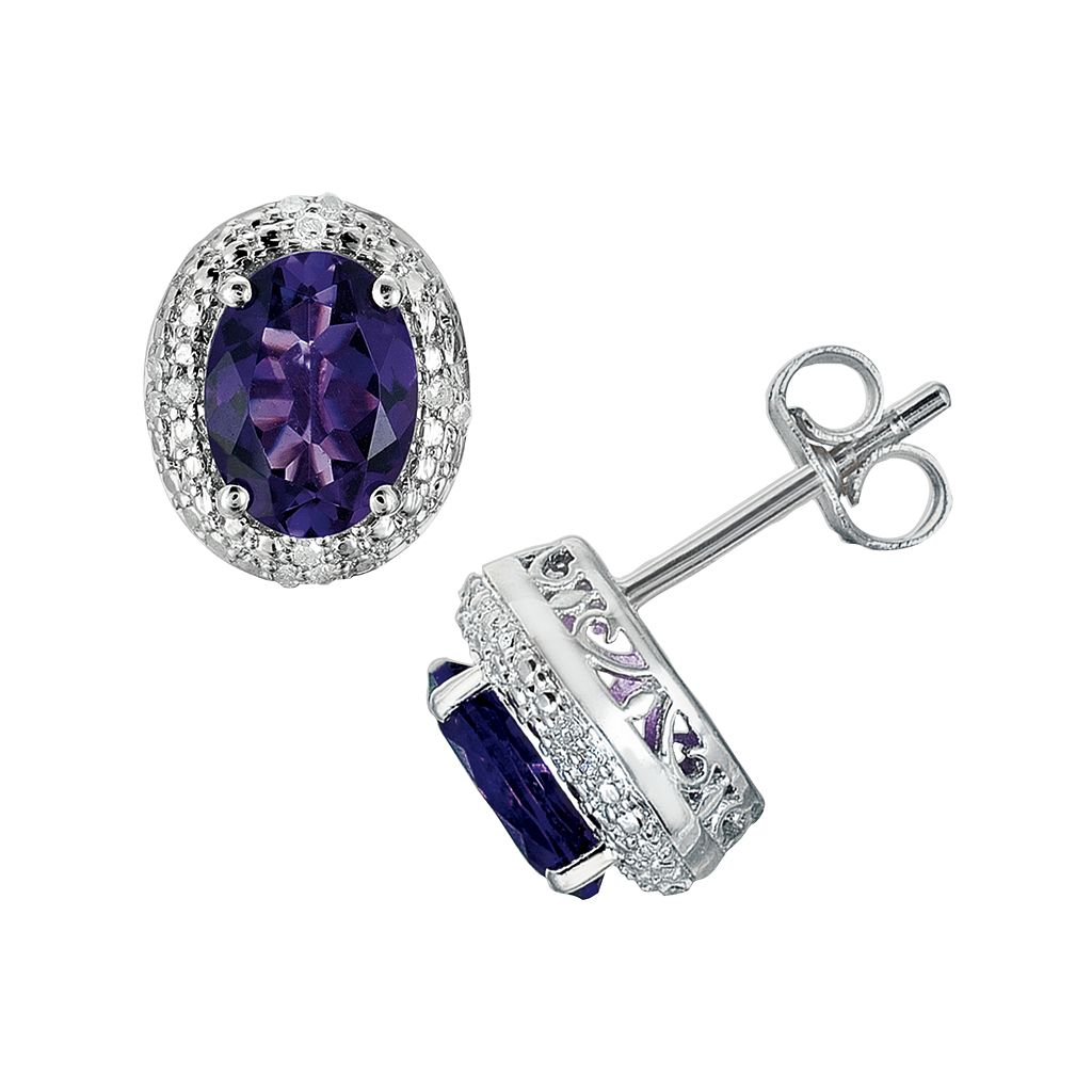 Sterling Silver Amethyst & Diamond Accent Oval Stud Earrings