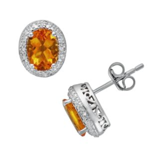 Sterling Silver Citrine and Diamond Accent Oval Frame Stud Earrings