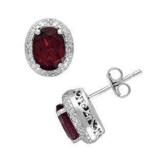 Sterling Silver Garnet and Diamond Accent Oval Frame Stud Earrings