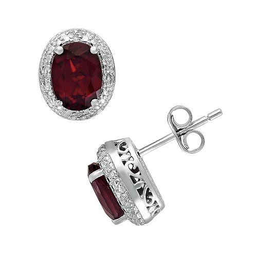 Sterling Silver Garnet & Diamond Accent Oval Frame Stud Earrings