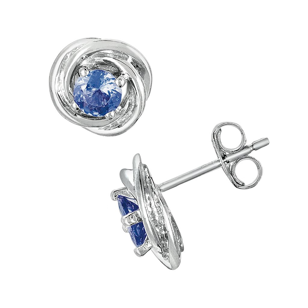 Sterling Silver Tanzanite Love Knot Button Stud Earrings
