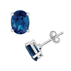 Sterling Silver London Blue Topaz Oval Stud Earrings