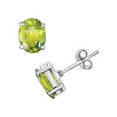 Sterling Silver Peridot Oval Stud Earrings