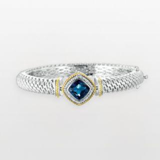 14k Gold and Sterling Silver 1/8-ct. T.W. Diamond and London Blue Topaz Bangle Bracelet