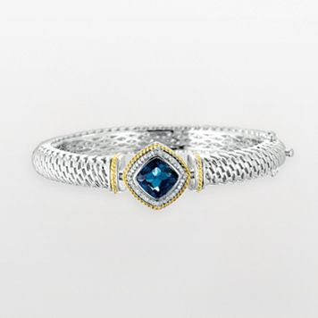 14k Gold & Sterling Silver 1/8-ct. T.W. Diamond & London Blue Topaz Bangle Bracelet