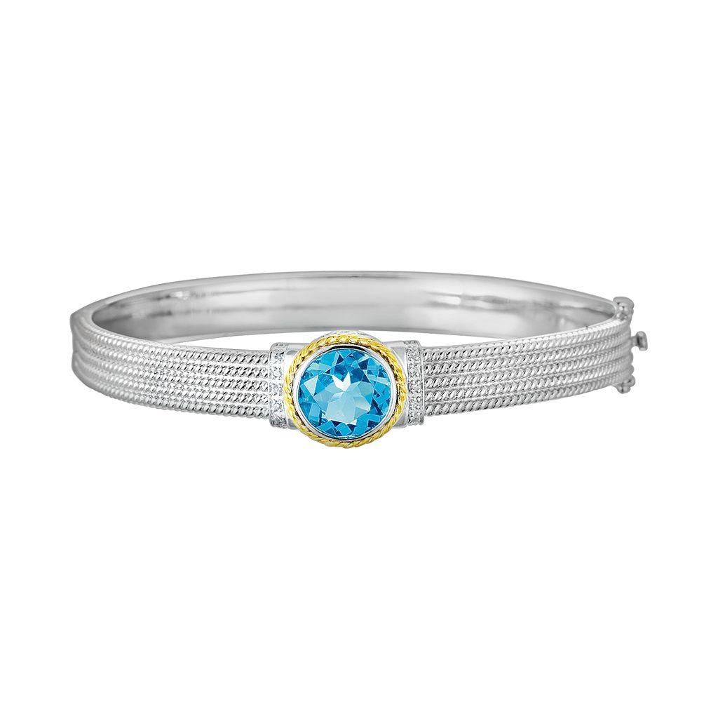 14k Gold & Sterling Silver 1/10-ct. T.W. Diamond & London Blue Topaz Bangle Bracelet
