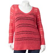 ELLE Lurex Open-Work Sweater - Women's Plus