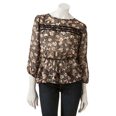 Lily Rose Floral Peplum Chiffon Top - Juniors