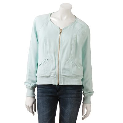 Candie's Collarless Bomber Jacket