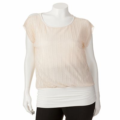 Wrapper Banded-Bottom Shimmer Top - Juniors' Plus