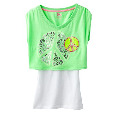 SO Neon Crop Top and Tank Set - Girls 7-16