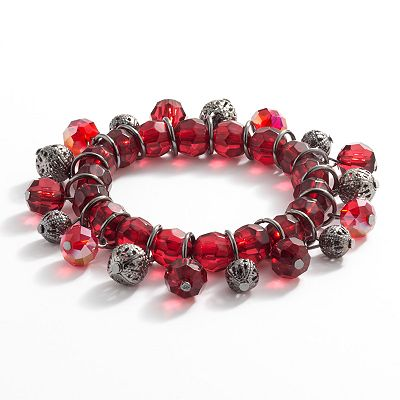 Croft and Barrow Jet Bead Stretch Bracelet