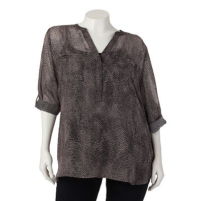 Apt. 9 Button-Tab Chiffon Henley Set - Women's Plus