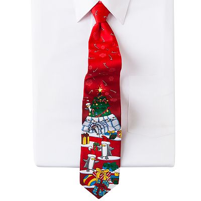 Noel Penguins and Igloo Holiday Tie