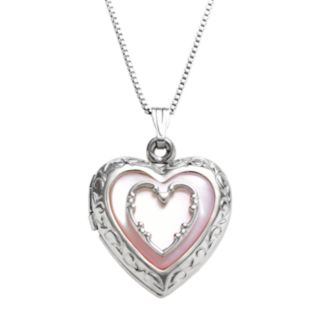 Sterling Silver Pink Mother-of-Pearl Heart Locket