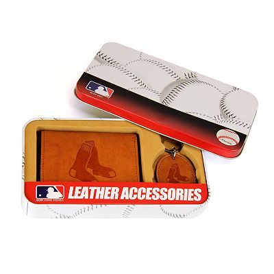 Boston Red Sox Trifold Wallet and Key Fob Gift Tin - Men
