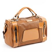 Roxbury Cyra Two-Tone Convertible Leather Barrel Bag