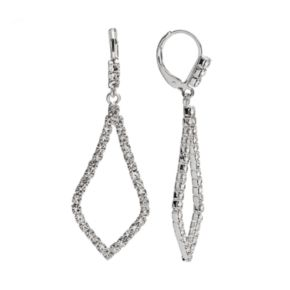 Silver Tone Simulated Crystal Inverted Kite Drop Earrings