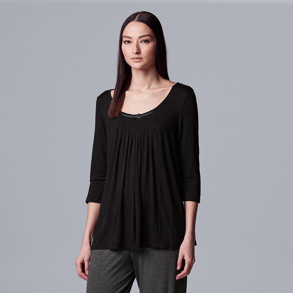 Women's Simply Vera Vera Wang Pajamas: Basic Luxury Pleated Pajama Top