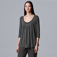 Women's Simply Vera Vera Wang Pajamas: Basic Luxury Pleated Pajama Top