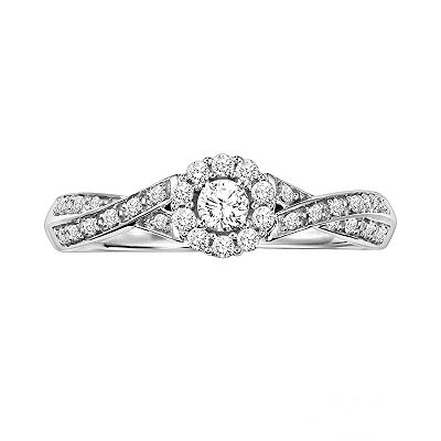 Simply Vera Vera Wang 14k White Gold 1/4-ct. T.W. Round-Cut Diamond Crisscross Ring