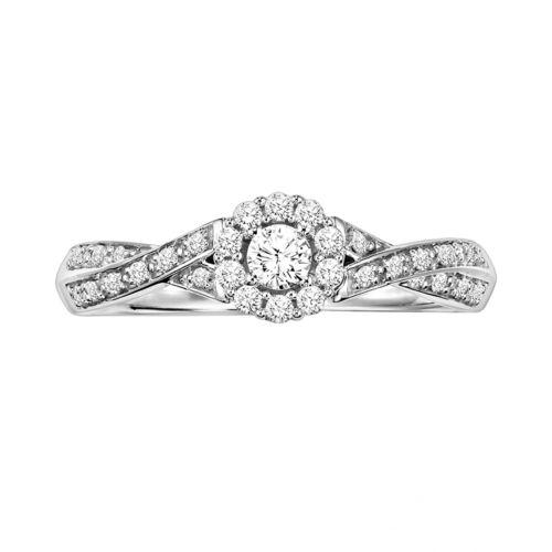 Simply Vera Vera Wang Diamond Crisscross Engagement Ring in 14k White Gold (1/4 ct. T.W.)