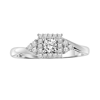 Simply Vera Vera Wang 14k White Gold 1/3-ct. T.W. Round-Cut Diamond Bypass Ring