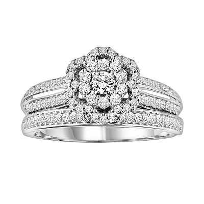 Simply Vera Vera Wang 14k White Gold 4/9-ct. T.W. Round-Cut Diamond Frame Ring Set