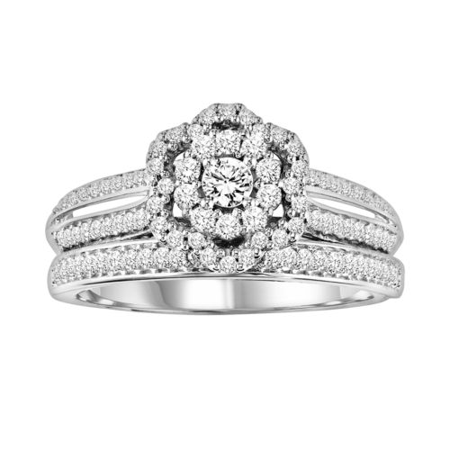 Simply Vera Vera Wang Diamond Halo Engagement Ring Set in 14k White Gold (4/9 ct. T.W.)