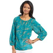 Chaps Lurex Paisley Georgette Peasant Top