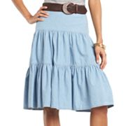 Chaps Tiered Chambray Skirt