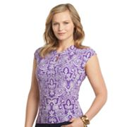 Chaps Medallion Twist-Front Empire Top - Women's Plus