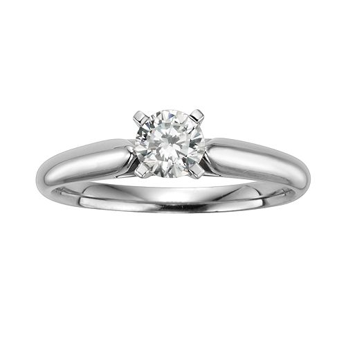 Round-Cut IGL Certified Diamond Solitaire Engagement Ring in 14k White Gold (1/2 ct. T.W.)
