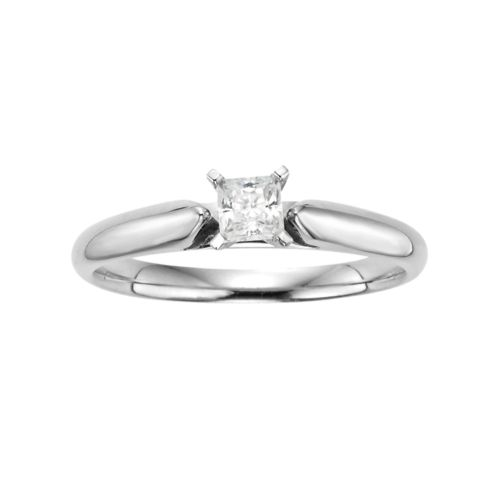 Princess-Cut IGL Certified Diamond Solitaire Engagement Ring in 14k White Gold (1/4 ct. T.W.)